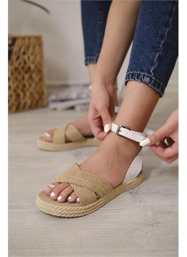 Oksit Florin 565 Hasır Kalın Taban Kadın Sandalet Beyaz